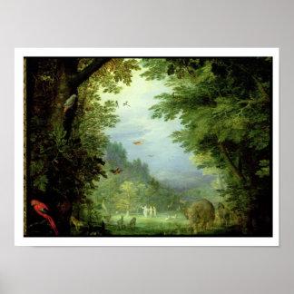 Conecte a tierra o el paraíso terrestre, detalle d póster