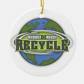 Conecte a tierra reducen, reutilizan y reciclan adorno redondo de cerámica