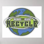 Conecte a tierra reducen, reutilizan y reciclan posters