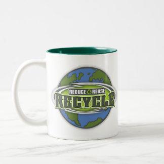 Conecte a tierra reducen, reutilizan y reciclan taza de café