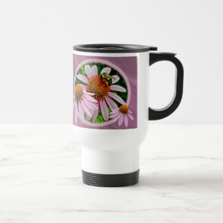 Coneflower and Bee Travel Mug