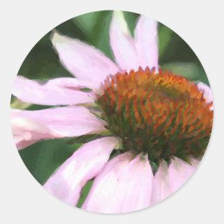 coneflower dancing impressionist painting.jpg classic round sticker