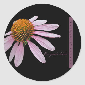Coneflower Debut Congratulations Items Classic Round Sticker