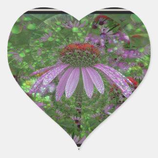 Coneflower Delight Heart Sticker
