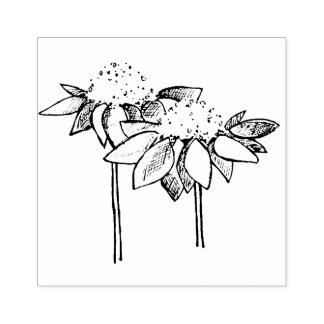 Coneflower Line Drawing Rubber Stamp
