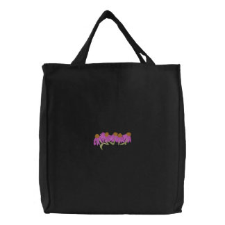 Coneflower Pocket Topper Embroidered Tote Bag