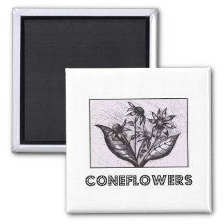 Coneflowers 2 Inch Square Magnet