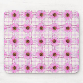 Coneflowers and Plaid Mouse Pad