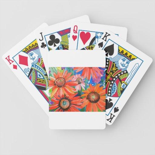 Coneflowers rosado y rojo barajas de cartas