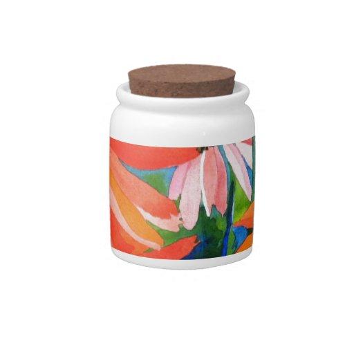 Coneflowers rosado y rojo jarra para caramelo