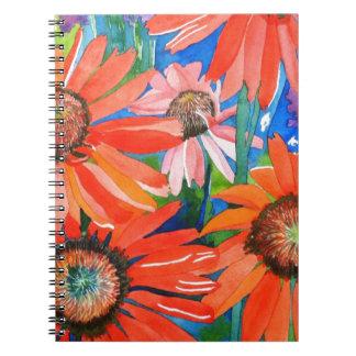 Coneflowers rosado y rojo notebook