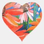 Coneflowers rosado y rojo pegatina de corazón