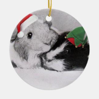 Conejillo de Indias de Peegs del navidad Adorno Navideño Redondo De Cerámica