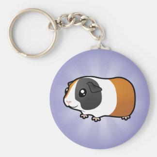 Conejillo de Indias del dibujo animado (pelo liso) Llavero Redondo Tipo Pin