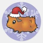 Conejillo de Indias del navidad (desaliñado) Pegatinas Redondas