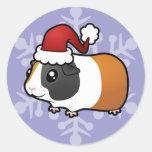 Conejillo de Indias del navidad (pelo liso) Pegatinas Redondas