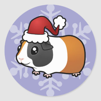 Conejillo de Indias del navidad (pelo liso) Pegatina Redonda