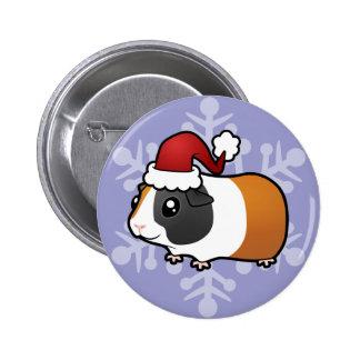 Conejillo de Indias del navidad (pelo liso) Pin Redondo 5 Cm