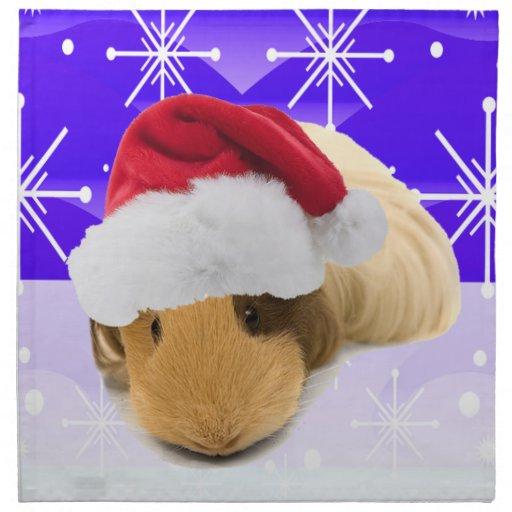 Conejillo de Indias en el gorra de Santa con los c Servilleta Imprimida
