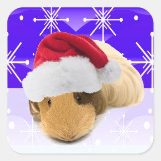 Conejillo de Indias en el gorra de Santa con los Pegatina Cuadrada