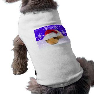 Conejillo de Indias en el gorra de Santa con los Playera Sin Mangas Para Perro