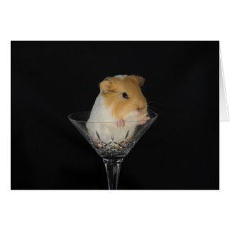Conejillo de Indias en una copa de vino Tarjeta De Felicitación