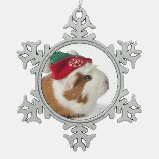 Conejillo de Indias lindo con el gorra del navidad Adorno De Peltre En Forma De Copo De Nieve