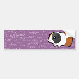 Conejillo de Indias ruidoso (pelo liso) Etiqueta De Parachoque