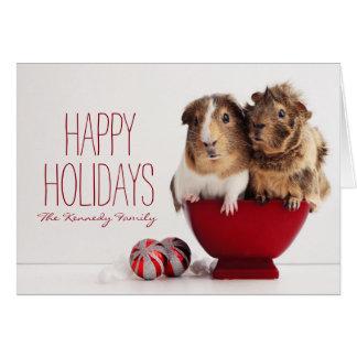 Conejillos de Indias con la bola del navidad Tarjeta De Felicitación