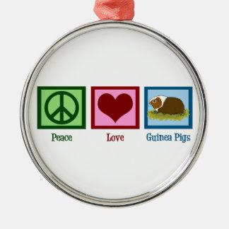 Conejillos de Indias del amor de la paz Adorno Redondo Plateado