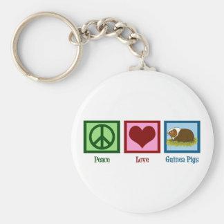 Conejillos de Indias del amor de la paz Llavero Personalizado