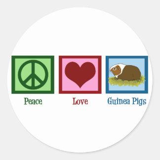 Conejillos de Indias del amor de la paz Pegatina Redonda