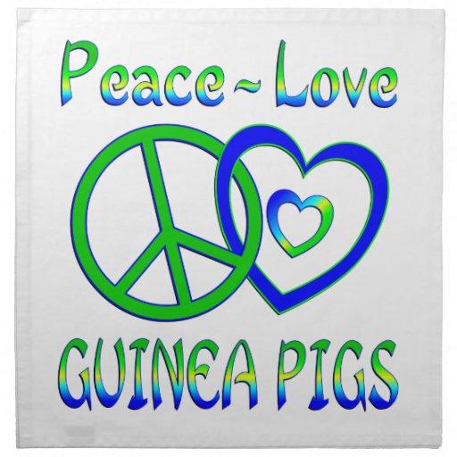 Conejillos de Indias del amor de la paz Servilleta De Papel