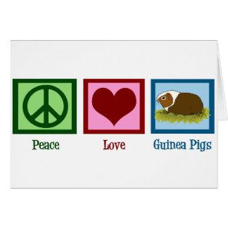 Conejillos de Indias del amor de la paz Felicitaciones