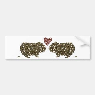 Conejillos de Indias en amor Pegatina De Parachoque