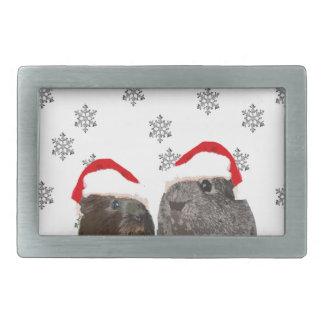 Conejillos de Indias lindos del navidad en los Hebilla Cinturón Rectangular