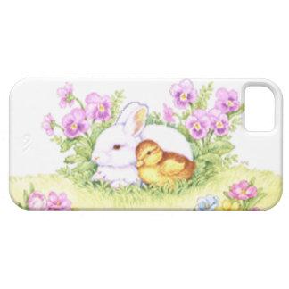 Conejito anadón y flores de pascua iPhone 5 Case-Mate cobertura