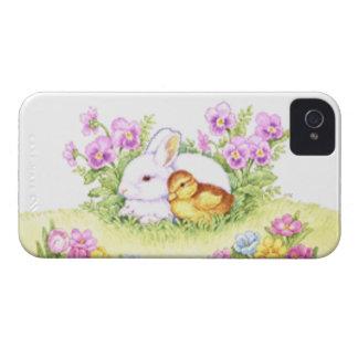 Conejito anadón y flores de pascua iPhone 4 Case-Mate funda