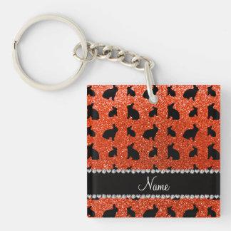 Conejito anaranjado de neón conocido personalizado llaveros