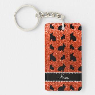 Conejito anaranjado de neón conocido personalizado llavero