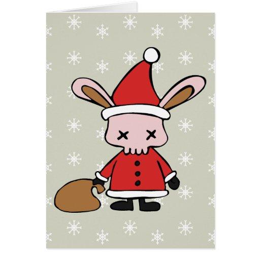 Conejito asustadizo de Navidad del rosa Tarjeta De Felicitación