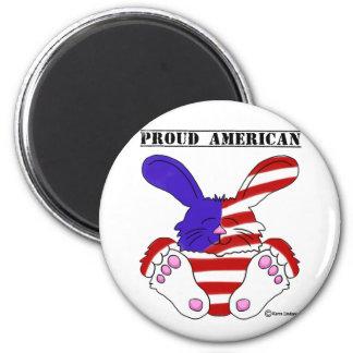 Conejito azul blanco rojo del orgullo americano or imanes