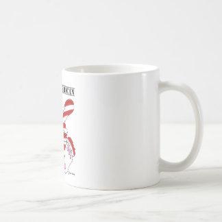 Conejito azul blanco rojo del orgullo americano or taza de café