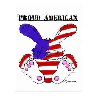 Conejito azul blanco rojo del orgullo americano postal