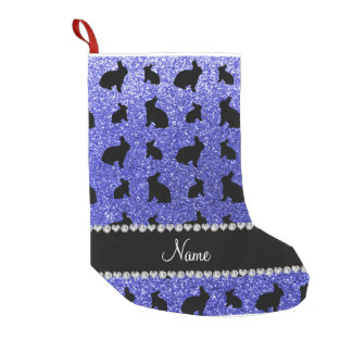 Conejito azul de neón conocido personalizado del bota navideña pequeña