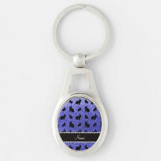 Conejito azul de neón conocido personalizado del llavero plateado ovalado