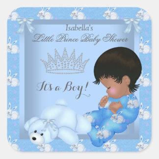Conejito azul del pequeño muchacho del príncipe pegatina cuadrada