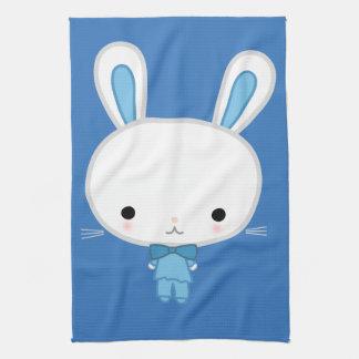 Conejito azul lindo de Kawaii Toallas De Mano