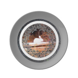 Conejito blanco casual placa de la porcelana del plato de cerámica
