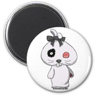 Conejito blanco del Beanbag Imán Redondo 5 Cm